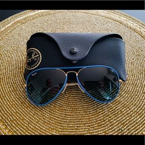 Authentic Ray Ban blue and gold aviators